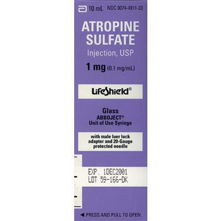 Atropine 1mh, 10mL Lifeshield Syringe