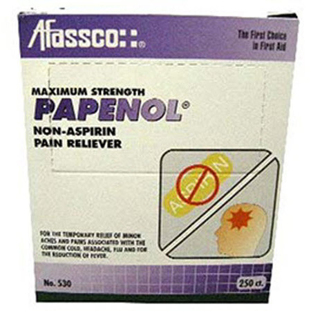 Papenol Pain Reliever Tablets, 500mg, Extra Strength, 125 Tablets