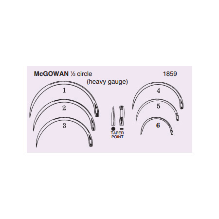 Surgical Meedle, McGowan, 1/2 Circle, Heavy Gauge, Taper Point, Size 6, Sterile, Disposable