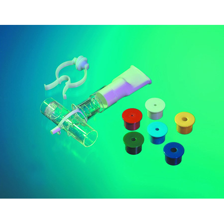 Inspiratory Muscle Trainer, Color-Coded Resistors, 15 mm ID, Nose Clip