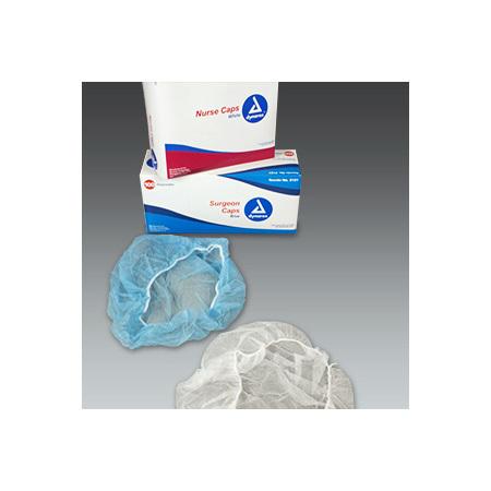 Nurses Cap, Bouffant, Disposable, Spunbonded Polypropylene, White, 21 in
