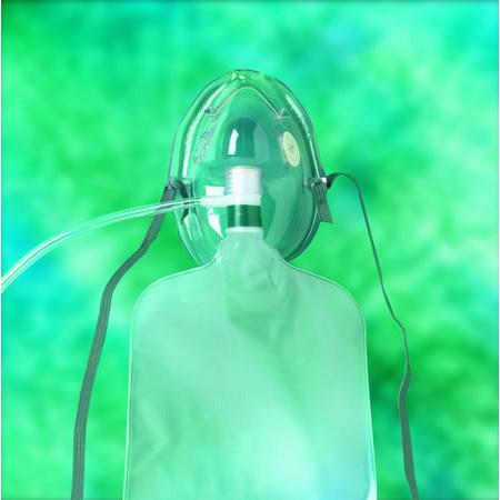 Oxygen Mask, Non-Rebreathing, Pediatric, Safety Vent, 7ft O2 Tubing, Adj Noseclip, Check Valve