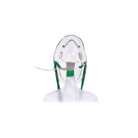 Oxygen Mask, Non-Rebreathing, Adult, Safety Vent, 7ft O2 Tubing, Adjustable Noseclip, Check Valve