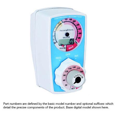 Cont/Int Vacuum Preset Suction Regulator, 0-200mmHg, 3 Mode (Reg/Off/Int), Push to Set